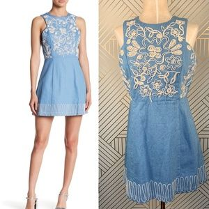 Moon River Embroidered Denim Sleeveless Mini Dress
